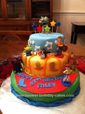 Homemade Toy Story Themed Birthday Cake
