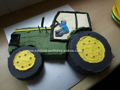 Homemade Tractor Cake with Driver