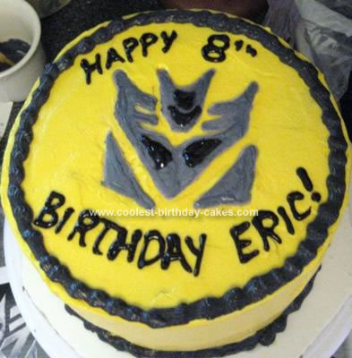 Homemade Transformer Birthday Cake ---  Bumble Bee Colors