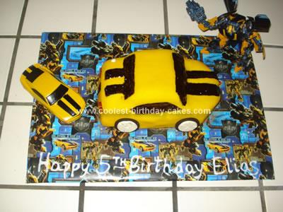Homemade Transformer Bumblebee Cake