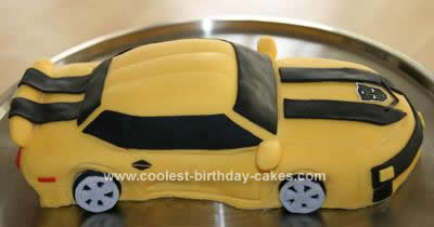 Homemade Transformer Bumblebee Car Cake
