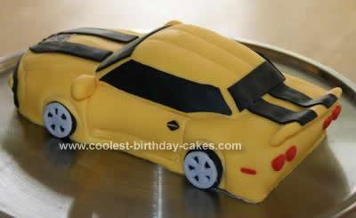 Homemade Transformer Bumblebee Car Cake