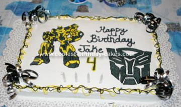 Homemade Bumblebee Transformers Birthday Cake