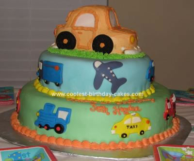 Homemade Transportation Birthday Cake