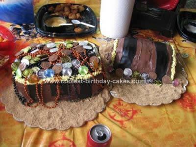 Homemade  Treasure Chest Birthday Cake
