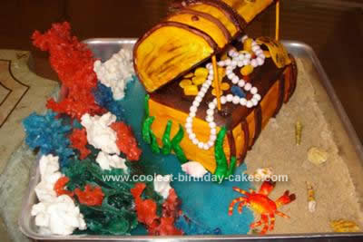 Homemade Treasure Chest Birthday Cake Idea