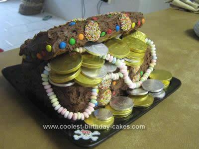 Homemade Treasure Chest Birthday Cake Idea