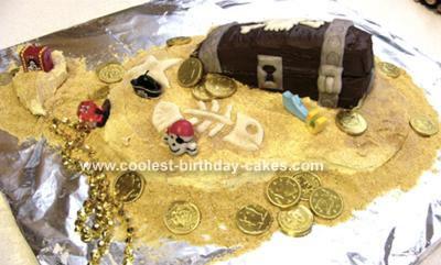 Sunken Pirate Treasure Chest Cake