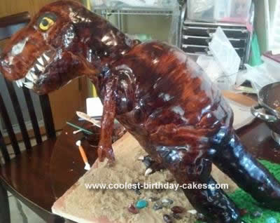 Homemade T-Rex 3D Dinosaur Birthday Cake
