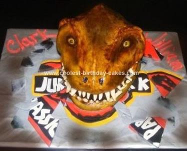 Homemade TRex Dinosaur Birthday Cake