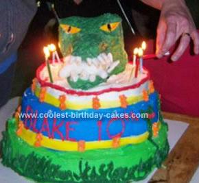 Homemade T-Rex Dinosaur Birthday Cake