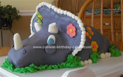 Homemade Purple Triceratops Cake