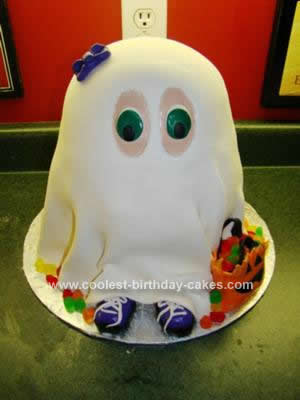 Homemade Trick or Treater in Ghost Costume Cake
