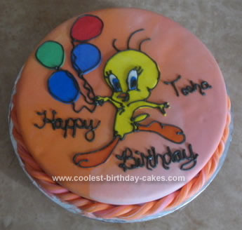 Homemade Tweety Birthday Cake