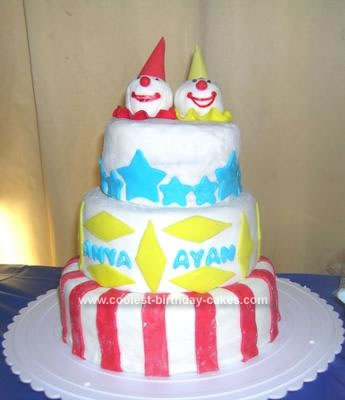 Homemade Twin Clowns Cake