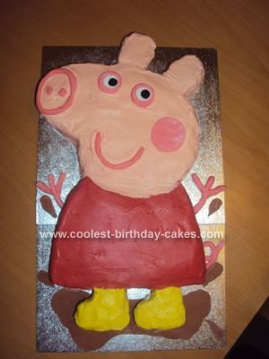 Homemade Twins 2nd Birthday Peppa Pig Cake