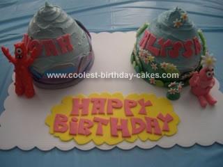 Homemade Twins Yo Gabba Gabba Giant Cupcakes