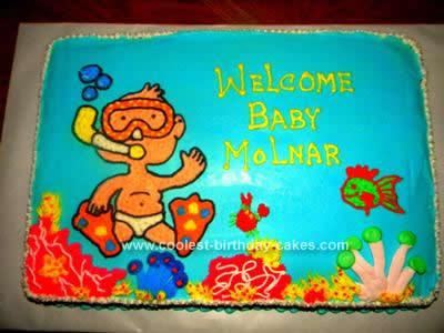 Homemade Under the Sea Baby Shower Cake Design