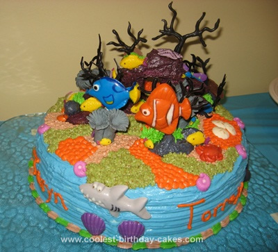 Homemade Under the Sea Ocean Floor Nemo Cake