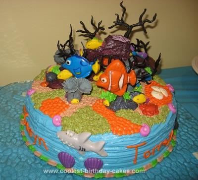 Homemade Under the Sea Ocean Floor Nemo Cake