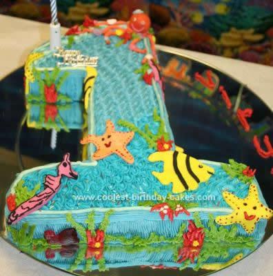 Homemade  Under Water World Birthday Cake