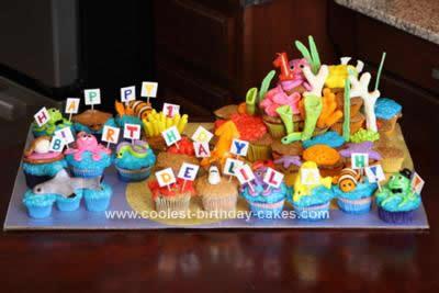Homemade Underwater Cupcake Birthday Cake