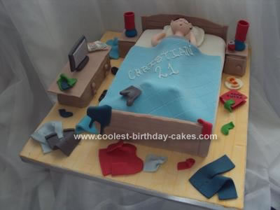 Homemade Untidy Bedroom 21st Birthday Cake