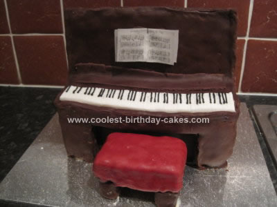 Homemade Upright Piano Birthday Cake Design