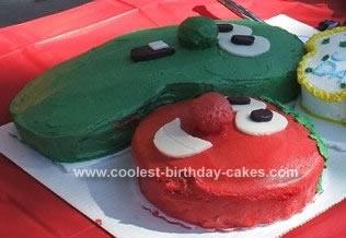 Homemade  Veggie Tales Birthday Cake
