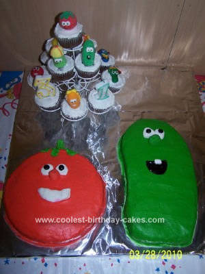 Homemade Veggie Tales Bob and Larry Cake