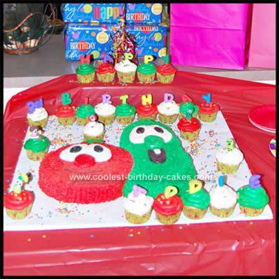 Homemade Veggie Tales Cupcakes and Birthday Cake