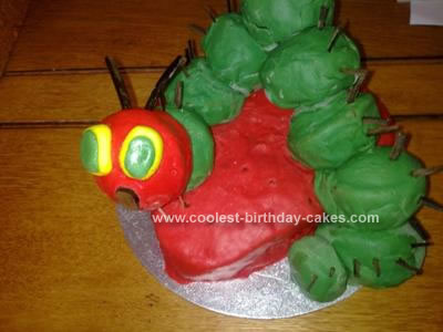 This Very Hungry Caterpillar Birthday Cake Was Made Using Individual Cupcakes Which Were Dyed Green Inside With Food Colouring To Make It All The More
