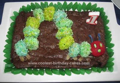 Homemade Very Hungry Caterpillar Birthday Cake