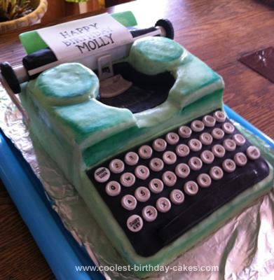 Homemade Vintage Typewriter Cake