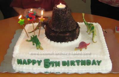 Homemade Volcano and Dinosaurs Birthday Cake