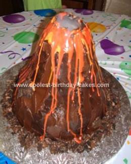 Homemade Volcano Birthday Cake