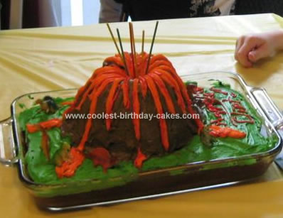 Homemade Dinosaur Volcano Birthday Cake