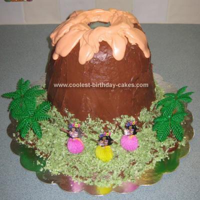 Homemade Luau Volcano Birthday Cake