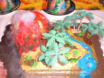 Smoking Volcano And Dinosaur Cake