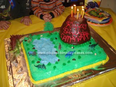 Homemade Volcano Dinosaur Cake