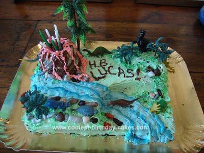 Homemade Volcano Theme Birthday Cake
