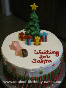 Homemade Waiting for Santa Christmas Cake