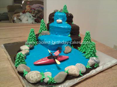 Homemade Waterfall and Kayak Birthday Cake