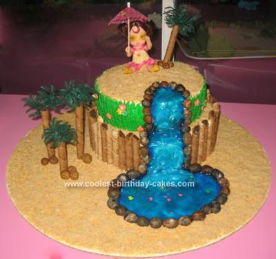 Homemade Luau Waterfall Birthday Cake