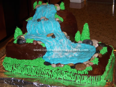 Homemade Waterfall Birthday Cake