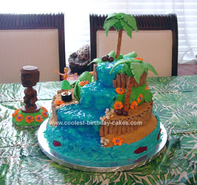Homemade Hawaiian Luau Waterfall Birthday Cake