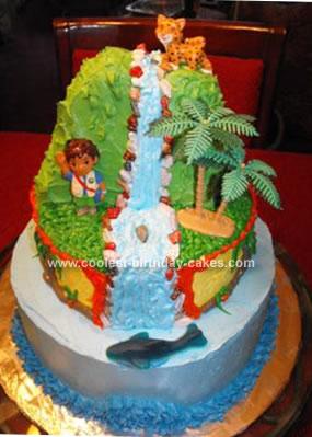 Tremendous Coolest Waterfall Birthday Cake Personalised Birthday Cards Epsylily Jamesorg