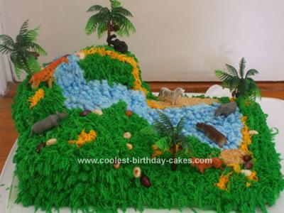 Homemade  Waterfall Jungle Birthday Cake