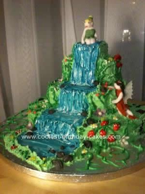 Homemade Waterfall Tinkerbell Fairy Garden Cake