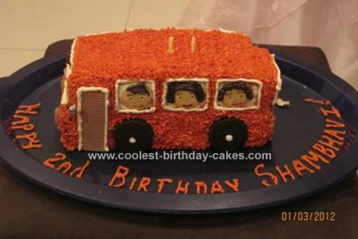 Homemade Wheels on the Bus Cake